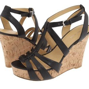 Nine West black strappy wedges size 7.5
